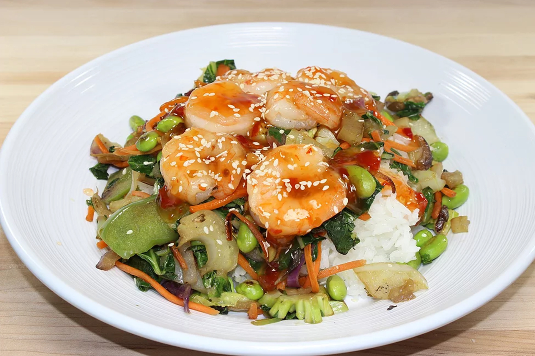 Sweet Chile shrimp bowl with rice and stir fried vegetables